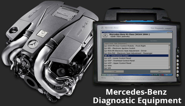 Garage with Mercedes-Benz engine diagnostics tools and equipment